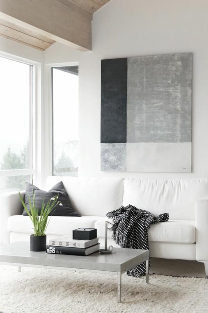 Wohnzimmer-in-skandinavischem-Stil-weiße-Einrichtung-Leinwandbild