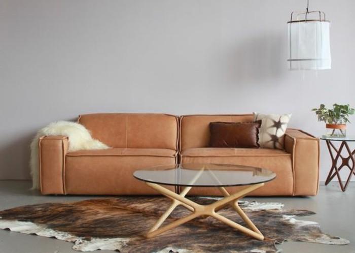 Zweisitzer-Couch-aus-Leder-in-Farbe-Orange