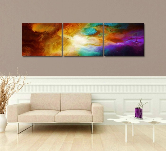 abstrakte-Leinwandbilder-Sonnenuntergang-in-grellen-Farben