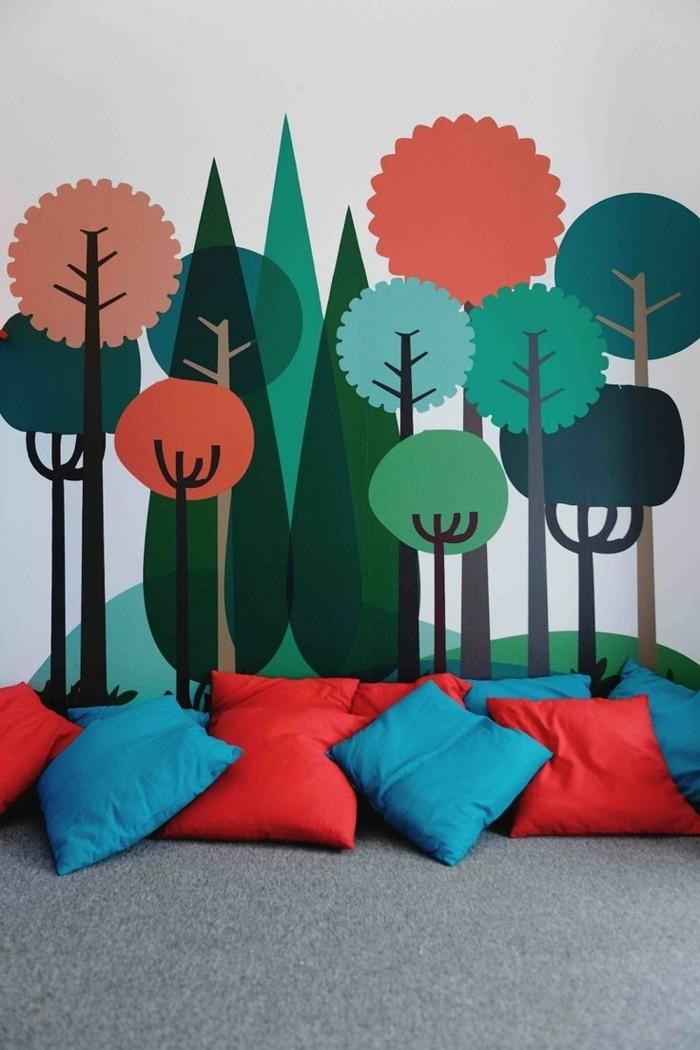 abstrakte-wandbilder-für-kinderzimmer-mit-figuren-von-bäumen