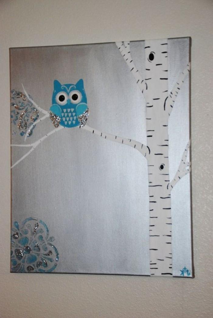 abstraktes-Wandbild-blaue-Eule-cooler-Leinwand-Druck
