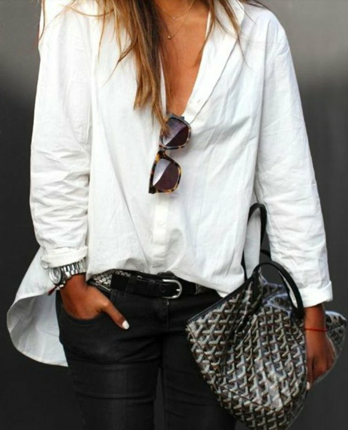 Wei es hemd 36 modelle die voll im trend liegen - Jeanshemd lang damen ...