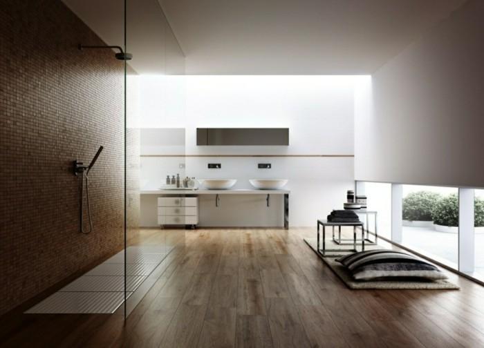 Moderne Bodenfliesen Bad : wunderschöne badezimmer bodenfliesen holzoptik  zwei waschbecken und