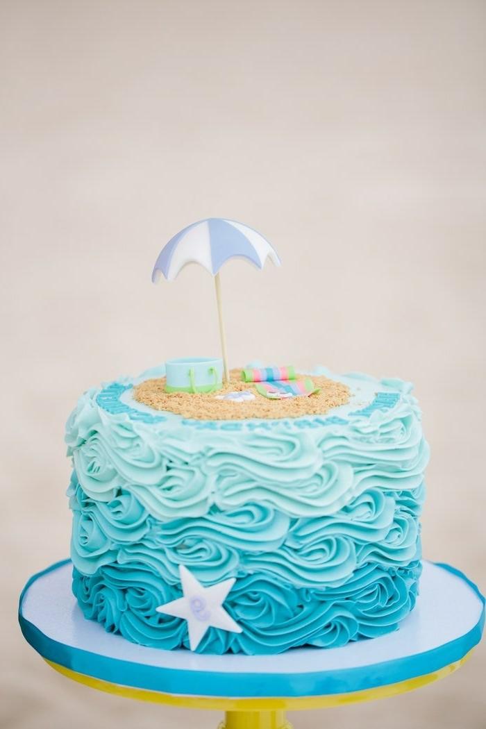 blaue torte zum geburtstag meer und strand thema geburtstagskuchen rezept leckere kreative ideen party