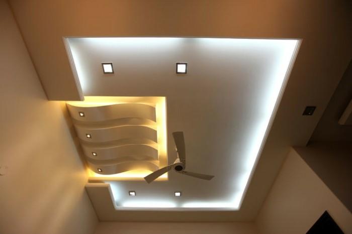 kreative lichtgestaltung im wohnzimmer moderne offene kche aus ... - Moderne Deckenverkleidung Wohnzimmer