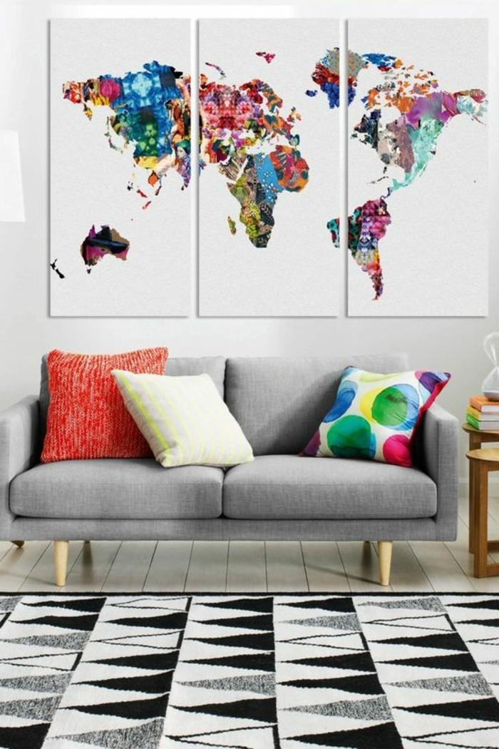 bunte-Leinwandbilder-die-Kontinente-auf-Leinwand-darstellen