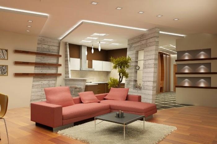 einmaliges-design-von-wohnzimmer-rosiges-sofa-interessante-deckenverkleidung