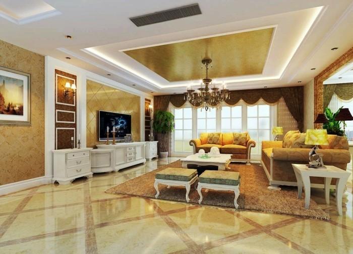 einmaliges-modell-wohnzimmer-goldene-nuancen-zimmerdecke