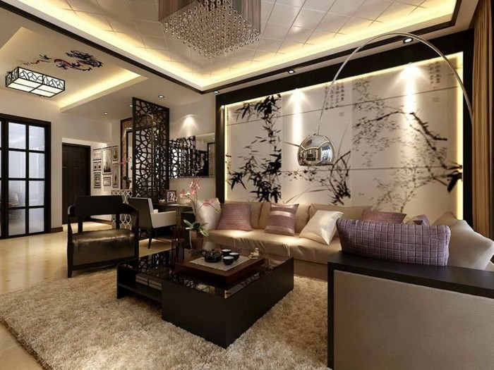einmaliges-wohnzimmer-mit-schöner-wandgestaltung-beige-und-brauen-farben
