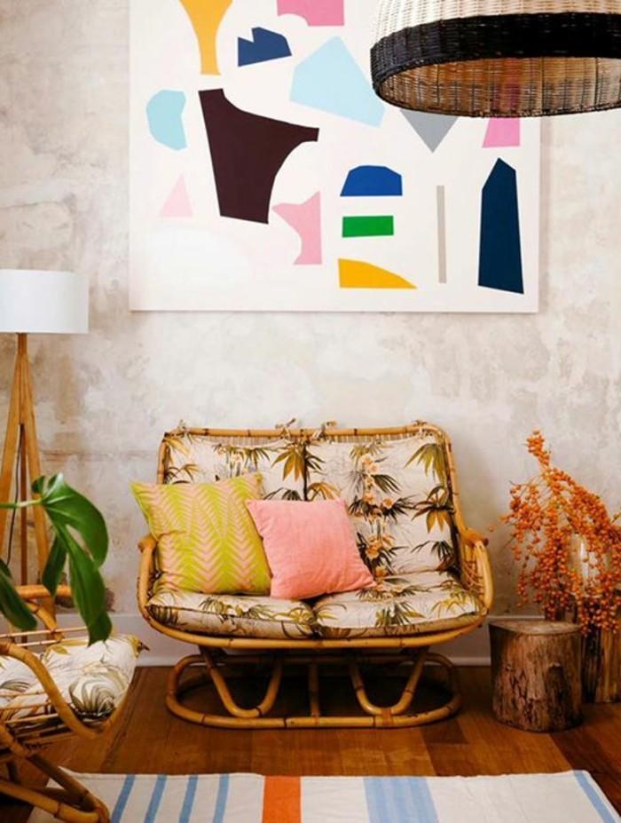 eklektisches-Interieur-mit-vintage-Rattanmöbeln