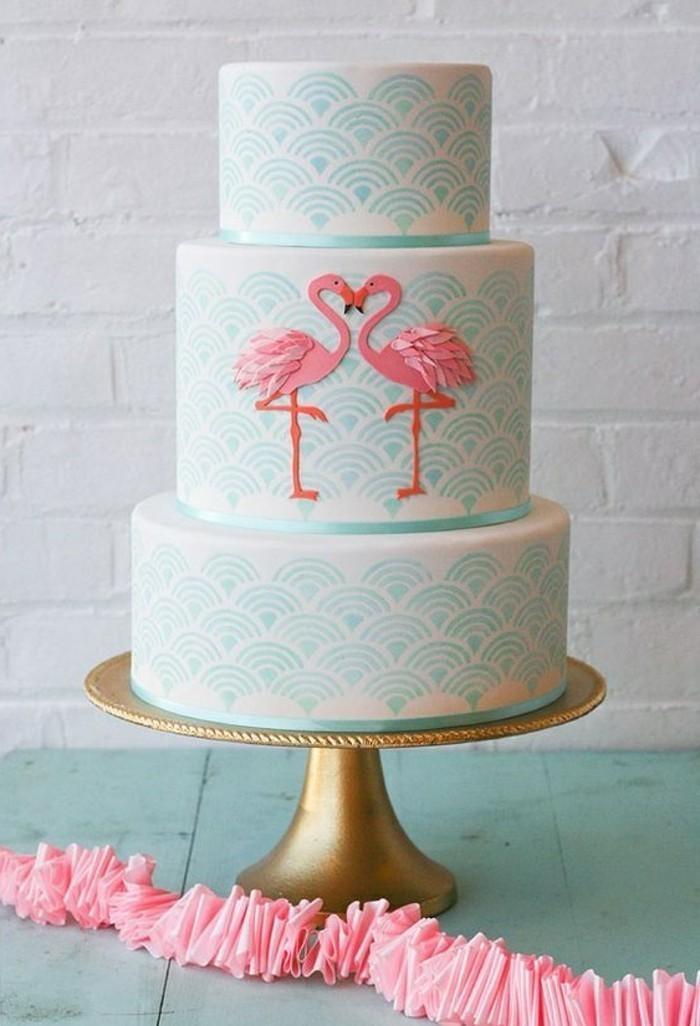 elegante-Geburtstagstorte-mit-Flamingos-Motiven