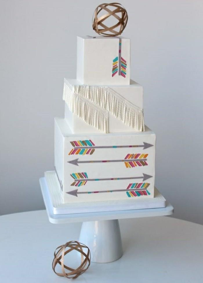 elegante-weiße-Geburtstagstorte-mit-Boho-Motiven