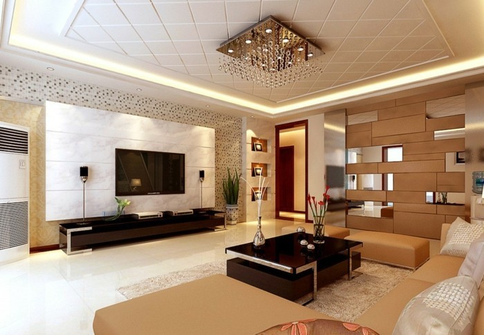 welche deckengestaltung fürs wohnzimmer gefällt ihnen? - archzine.net - Moderne Deckenverkleidung Wohnzimmer