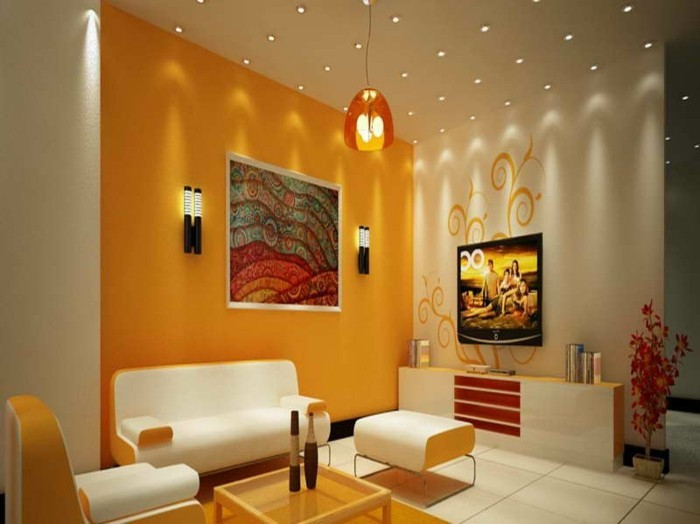 wohnzimmer orange weiß: deckenleuchten – modernes wohnzimmer -wandfarben orange und weiß