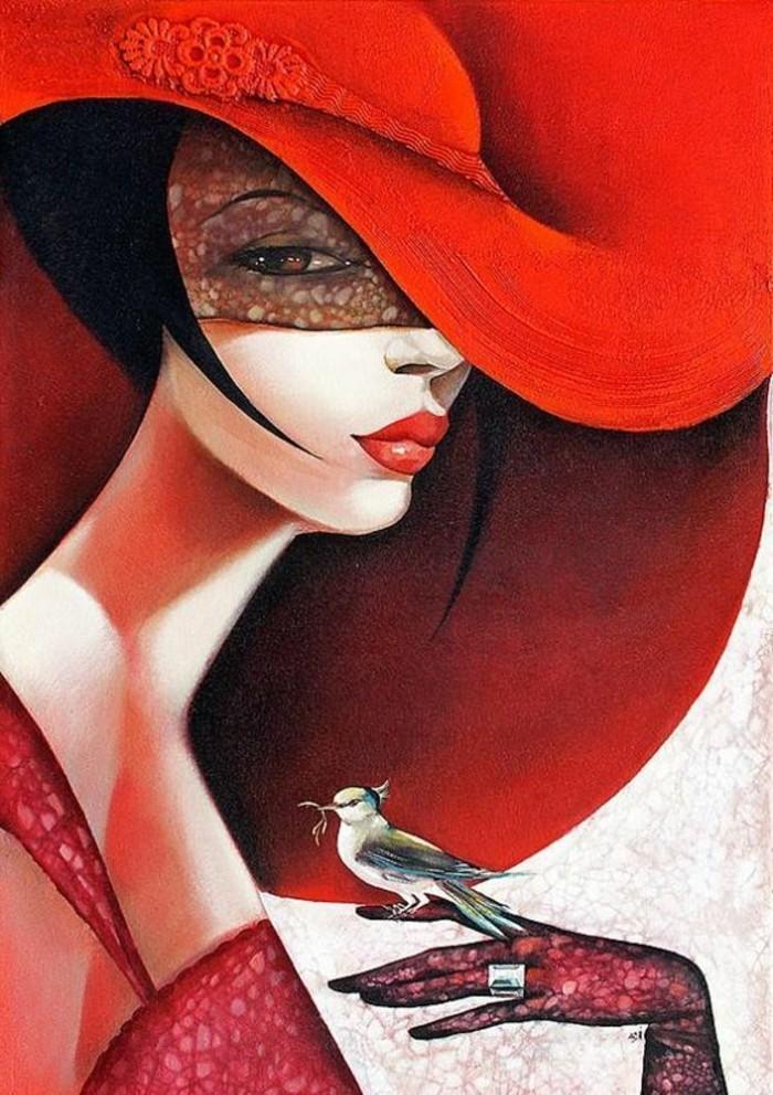 fantastisches-Bild-von-Dame-mit-rotem-Hut