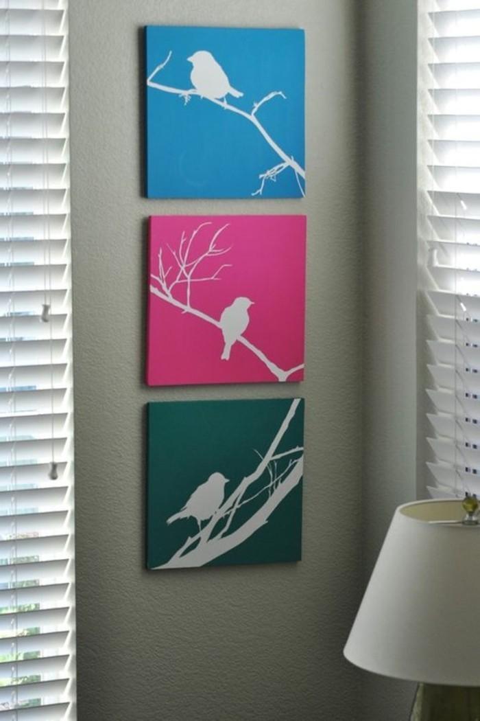 farbige-Bilder-auf-Leinwand-Vögel-Darstellungen