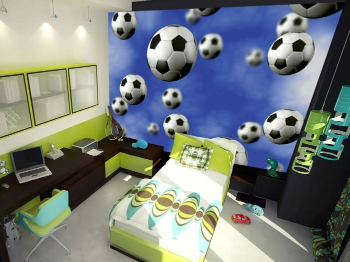 kinderzimmer junge wandgestaltung fussball. Black Bedroom Furniture Sets. Home Design Ideas