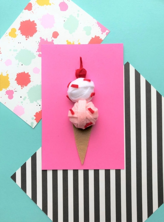 buntes dekopapier, rosa cardstock, geburtstag karte anleitung, 3d eiscreme aus filzstoff
