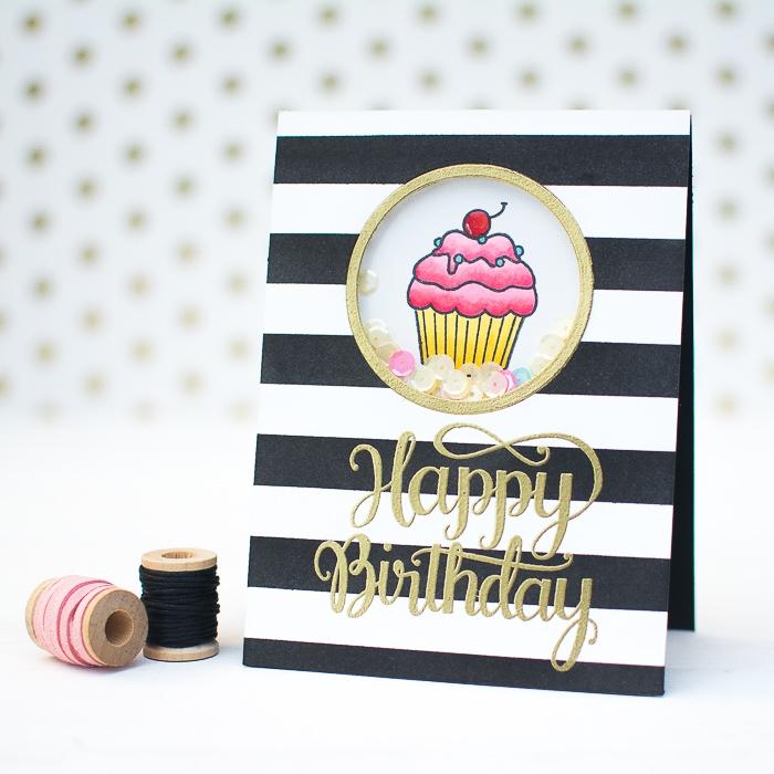rosa cupcake, goldene buchstaben, geburtstag karte, gestreiftes papier, pailetten