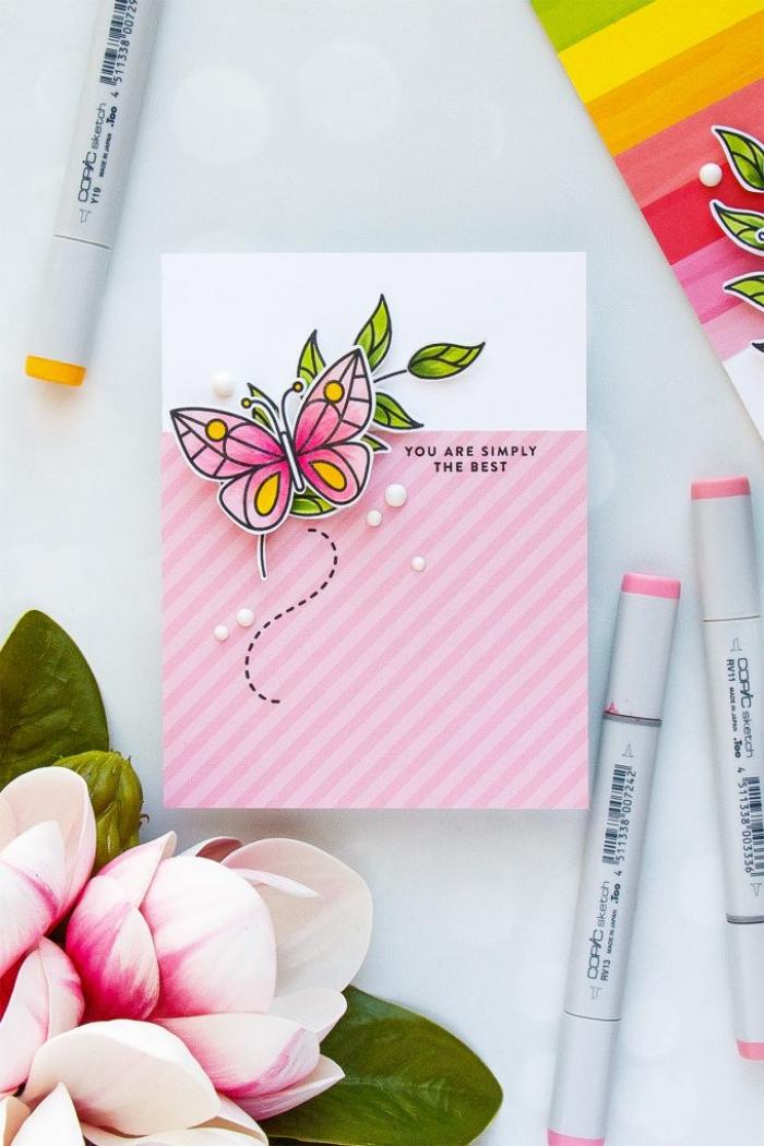 rosa marker, 3d schmetterling, geburtstag karte, selbstgemachte geburtstagskarte