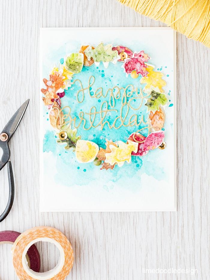 papier mit wasserfarben dekorieren, geburtstag karte selbstgemacht, buchstaben aus faden