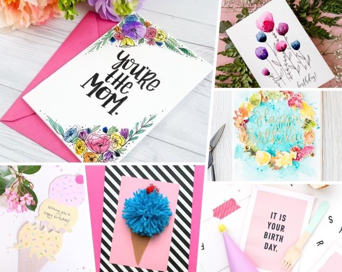 geburtstagskarte selber machen, karte für mutti, florale motive, pompj aus blauem garn, eiscreme