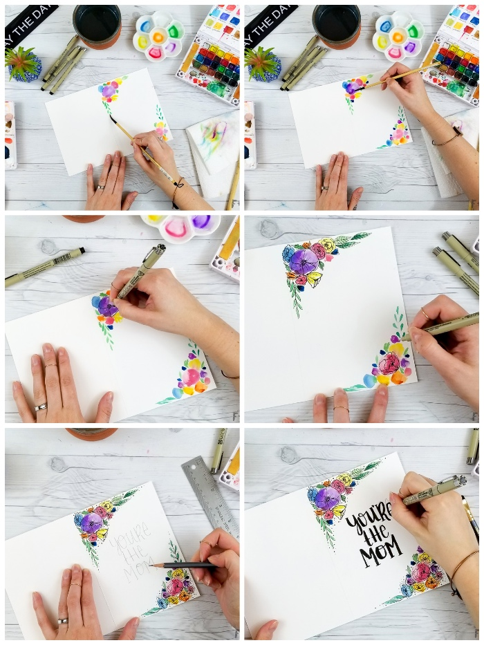 geburtstagskarte selbst gestalten, blumen malen mit wasserfarben, karte dekorieren
