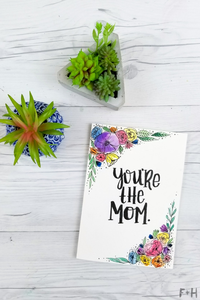 geburtstagskarte selbst gestalten, karte für mutti, kleine pflanzen, florale motive