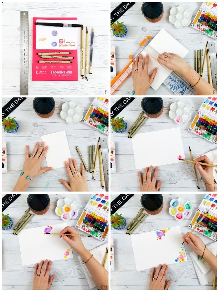 geburtstagskarte selbst gestalten, blumen mit wasserfarben malen, diy karte für mutti
