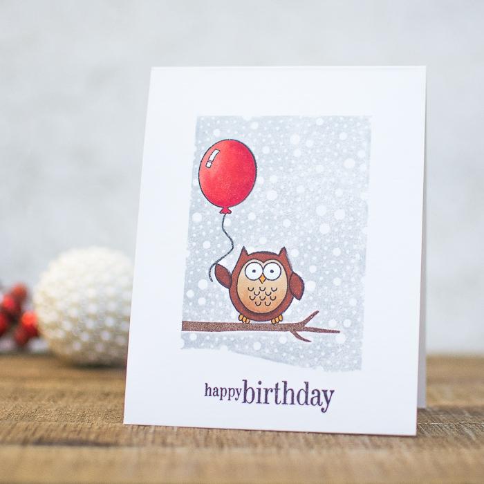 geburtstagskarte zum ausdrucken, roter luftballon, kleine eule am ast, karte aus kardstock