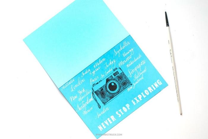 karte aus blauem papier, geburtstagskarten gestalten, kamera zeichnung