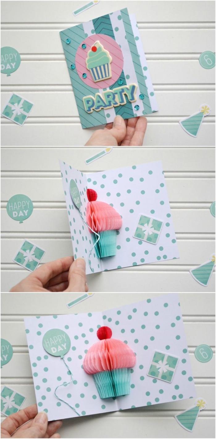 pop up karte, muffin aus seidenpapier, geburtstagskarten gestalten, cupcake