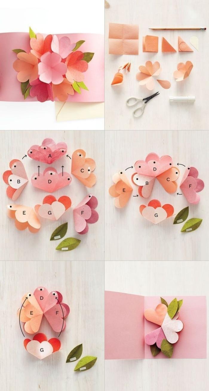 kleine blüten aus rosa papier, geburtstagskarten gestalten, pop up karte selber machen