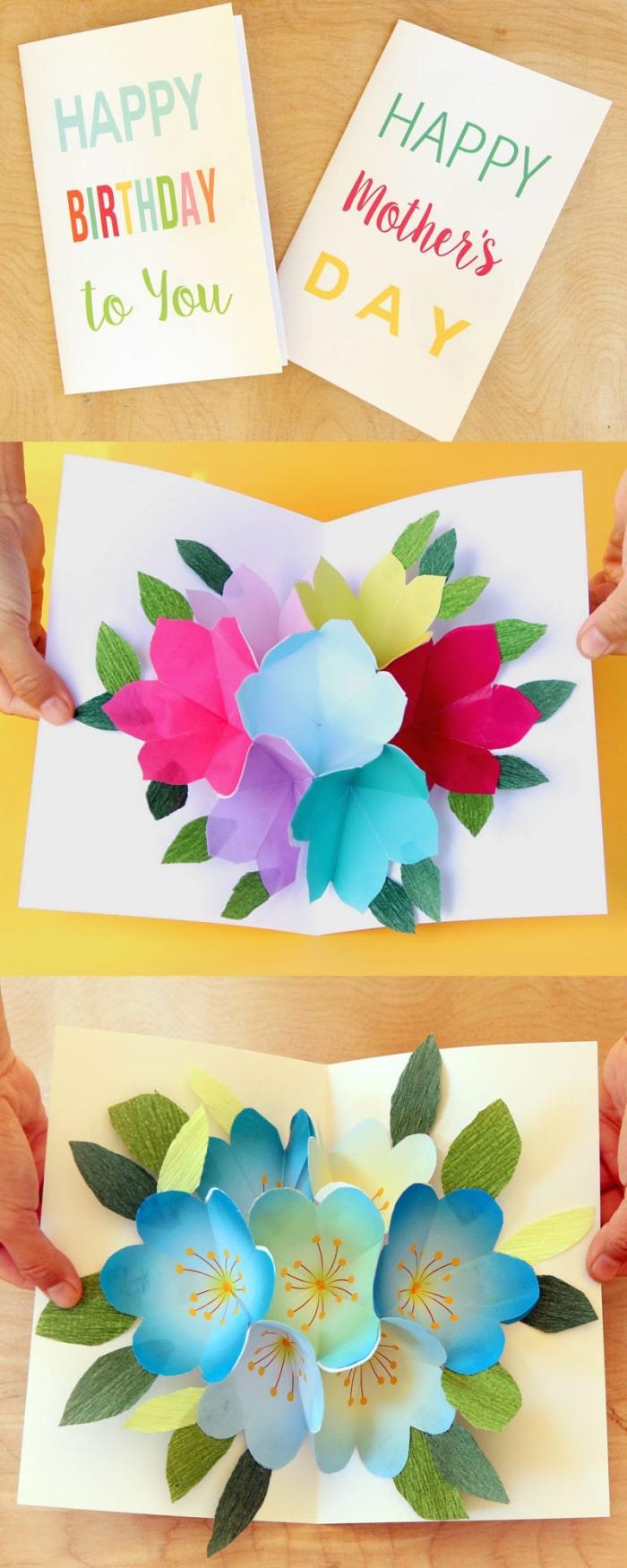 pop up karte basteln, geburtstagskarten gestalten, bunte blumen, 3d blüten