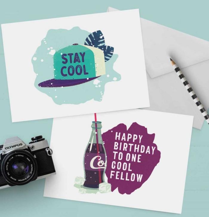 fotoapparat im retro stil, geburtstagskarten selber machen, bedrucktes papier