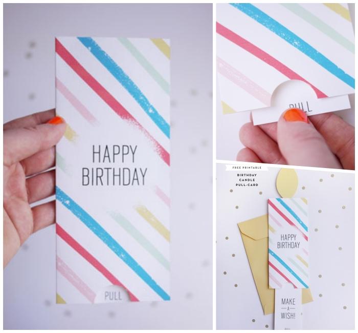 große karte aus gestreifstes paier, geburtstagskarten selber machen, kerze