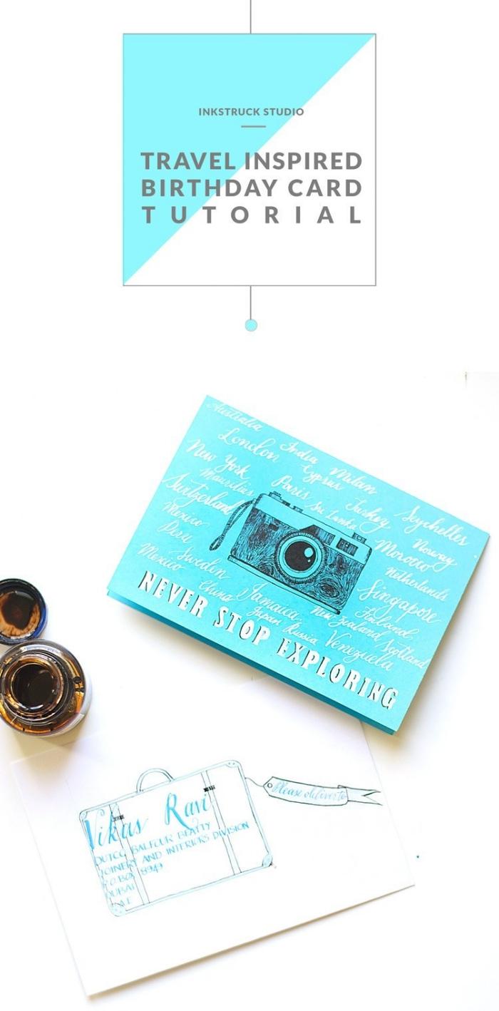 blaues papier, geburtstagskarten selber machen, apparat im vintage stil, zeichnung