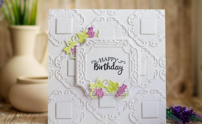 geburtstagskarten selber machen, weißes papier mit 3d muster, weintrauben
