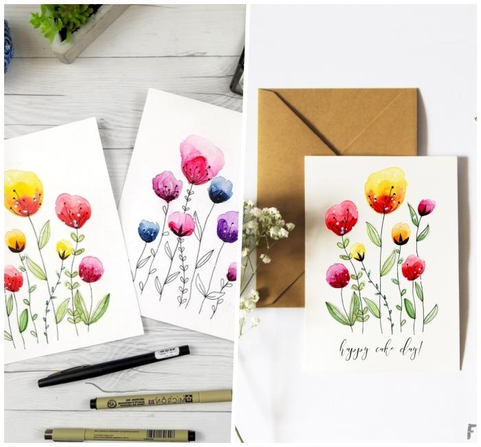 bunte blumen, geburtstagskarten selber gestalten, blüten malen, wasserfarben