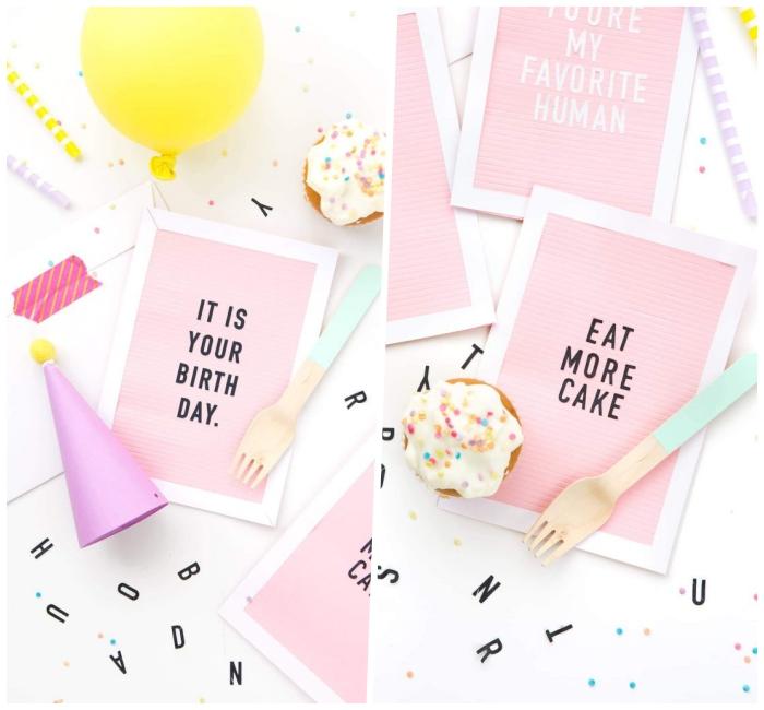 geburtstagskarten selbst gestalten, partyhut aus lila papier, karten aus weißer und rosa pappe