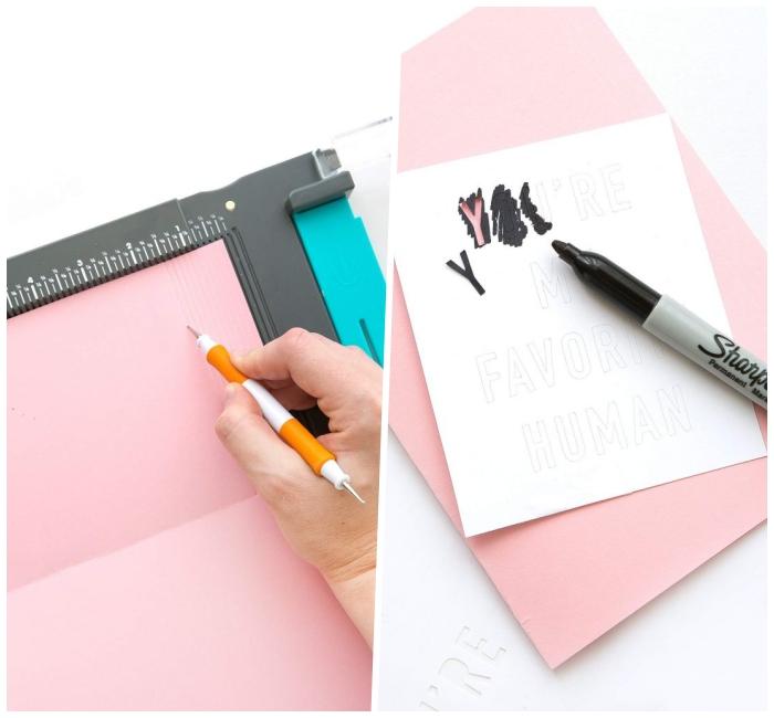 geburtatagskarten selbst gestalten, karte zum geburtstag aus rosa und weißem papier