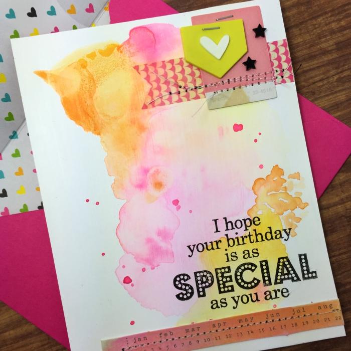 bunte wasserfarben, karte selber machen, geburtstagskarten zum ausdrucken, diy