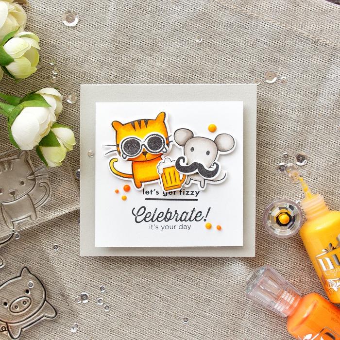 geburtstagskarten zum ausdrucken, kleine katze mit sonnenbrillen, maus mit langem schnurrbart
