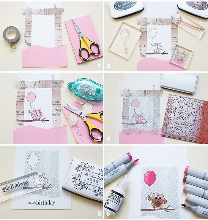 geburtstagskarten zum ausdrucken, rosa papier, eule am ast, diy tutorial schritt für schritt
