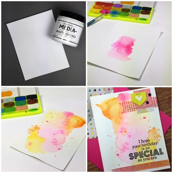 papier mit wasserfarben dekorieren, geburtstagskarten zum ausdrucken, selbstgemachte karte