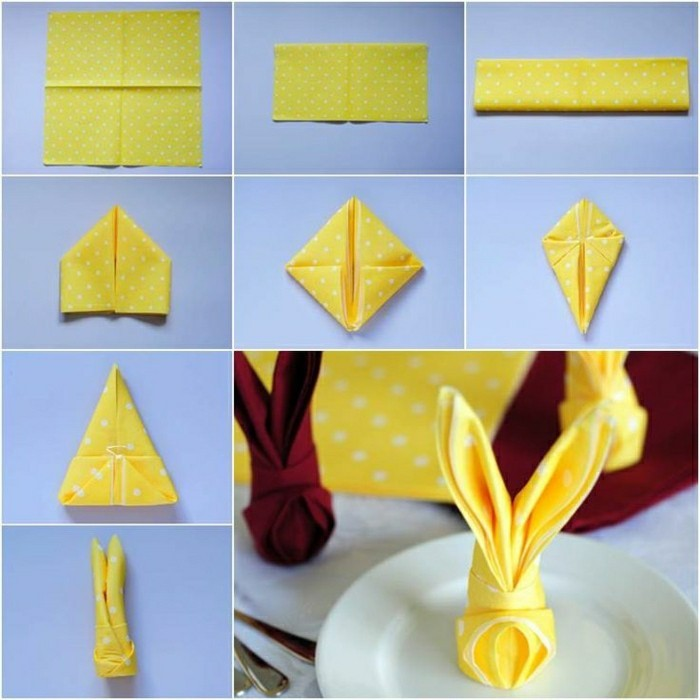 gelbe-Papierservietten-für-Oster-falten