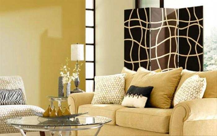 gelbes-sofa-schöne-wandgestaltung-im-modernen-wohnzimmer