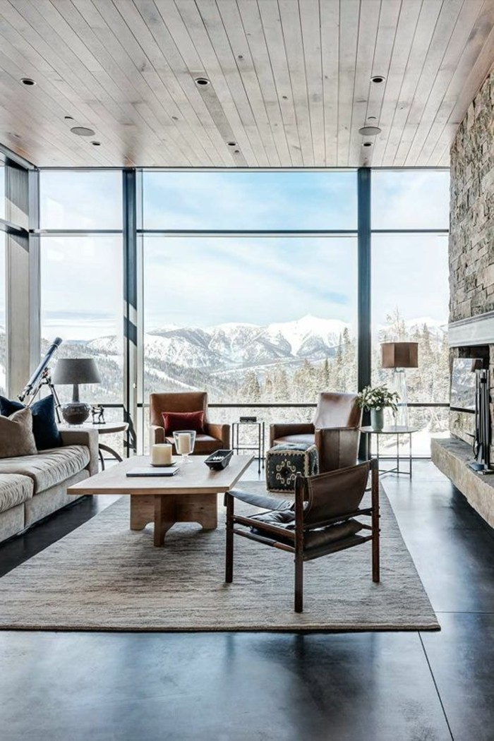 schöne wohnzimmer wände:gläserne-wände-tolle-deckengestaltung-im-wohnzimmer-moderne-möbel