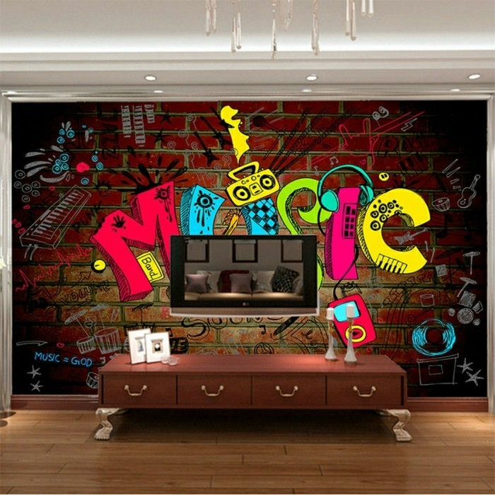 110 kreative ideen fototapete f rs kinderzimmer for Graffiti style bedroom designs