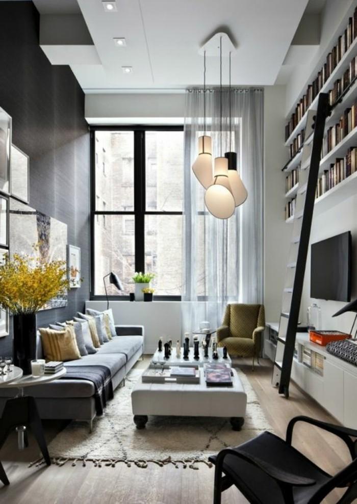 graues-modell-wohnzimmer-kreative-deckenverkleidung
